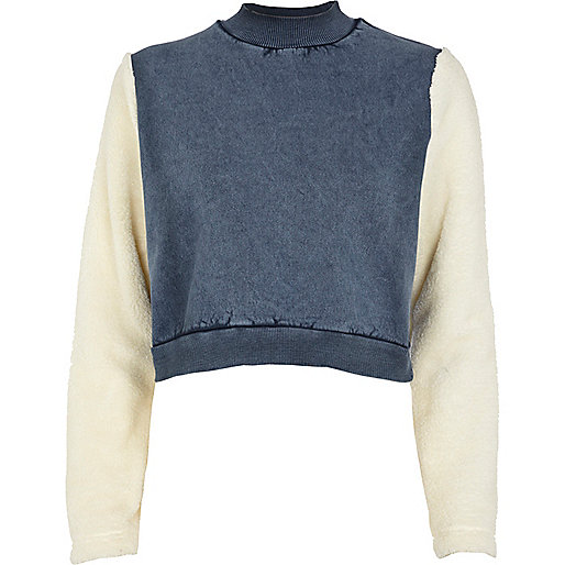 Blue fleece sleeve acid wash crop sweatshirt