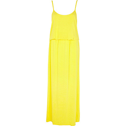 Yellow waisted cami maxi dress
