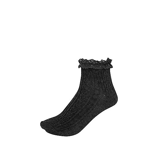 Dark grey cable knit frilly ankle socks