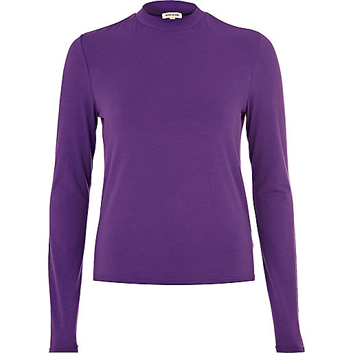 Purple turtle neck long sleeve top