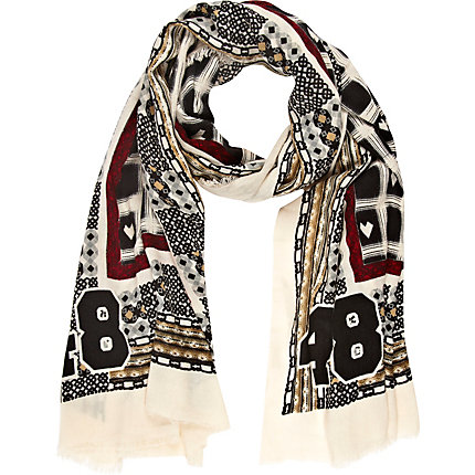 Cream check and heart print lightweight scarf