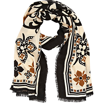 Brown floral print scarf