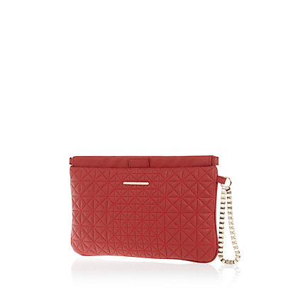 Red quilted snap top clutch bag