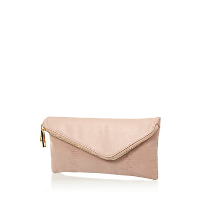 Light pink asymmetric zip clutch bag