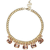 Pink square gem stone statement necklace