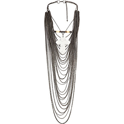 Grey multi draped chain statement necklace