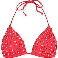 Pink 3D bow diamante bikini top