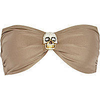 Gold diamante skull bandeau bikini top