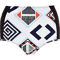 Black geometric high waisted bikini bottoms