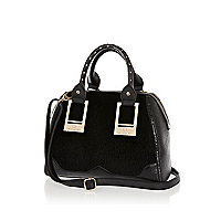 Black pony skin panel bowler bag