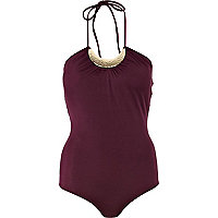 Dark red halterneck swimsuit