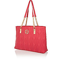 Pink quilted chain strap tote bag