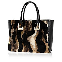 Brown faux fur panel oversized tote bag