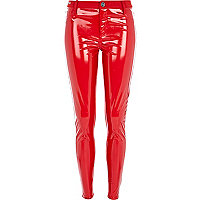 Red high shine skinny trousers