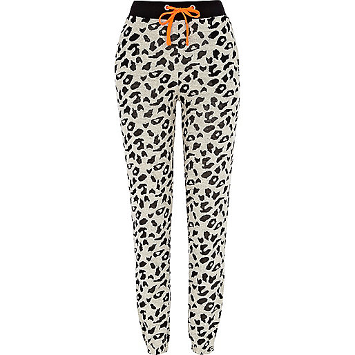 Black leopard print burnout joggers