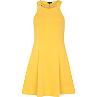 Yellow metal plate racer front skater dress