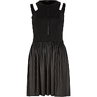 Black cut out shoulder pleated skater dress