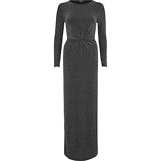 Silver chevron twisted waist maxi dress