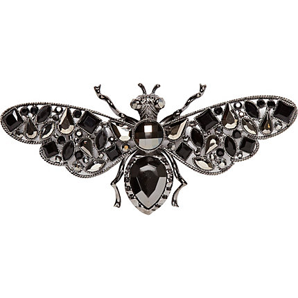 Gunmetal tone oversized gem stone bug brooch