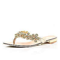 Gold embellished thong sandals