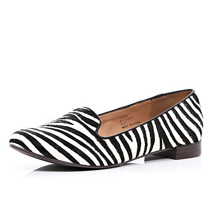 Black and white zebra print slipper shoes