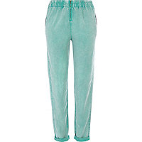Green acid wash zip front joggers