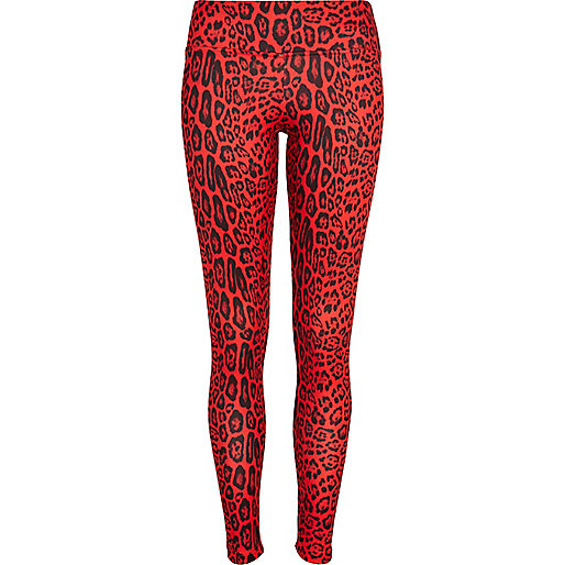 Red scuba animal print leggings