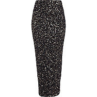 Black sequin embellished tube maxi skirt