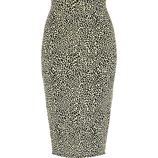 Lime animal print jacquard tube skirt