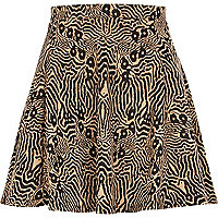 Brown animal print jacquard skater skirt