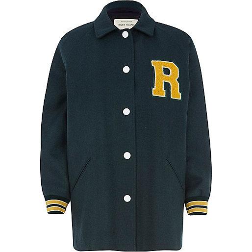 Green R badge longline varsity jacket
