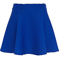 Blue shirred textured skater skirt
