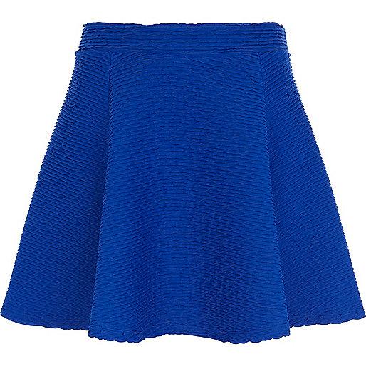 Blue shirred textured skater skirt