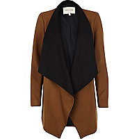 Brown two-tone waterfall coat