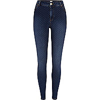 Mid wash polka dot Lana superskinny jeans