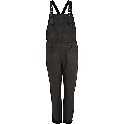 Black coated dungarees