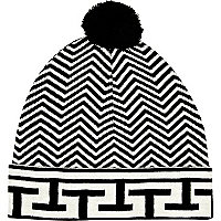 Black and white chevron beanie hat