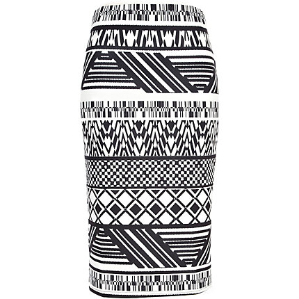 Black and white tribal print pencil skirt