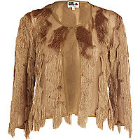 Brown Chelsea Girl fringed shacket
