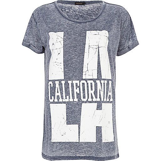 Navy burnout LA California t-shirt