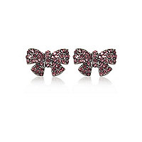 Purple diamante bow stud earrings