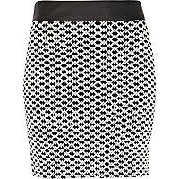 Black and white jacquard mini skirt