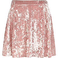 Light pink crushed velvet skater skirt