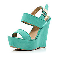Turquoise platform wedge sandals