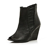 Black whip stitch peep toe ankle boots