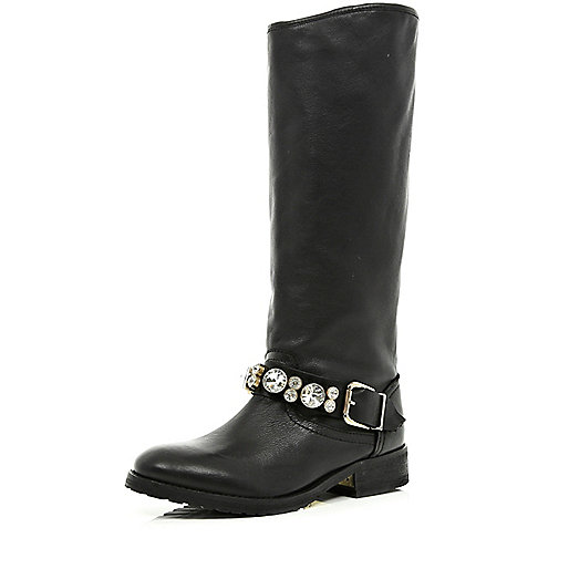 Black gem stone high leg biker boots