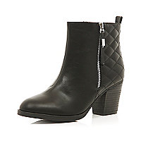 Black quilted panel ankle boots