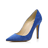 Bright blue pointed court shoes