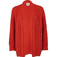 Red aran knit cardigan