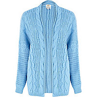 Blue aran knit cardigan